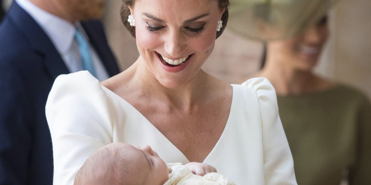 The duchess glowed in ivory at Prince Louis' christening.