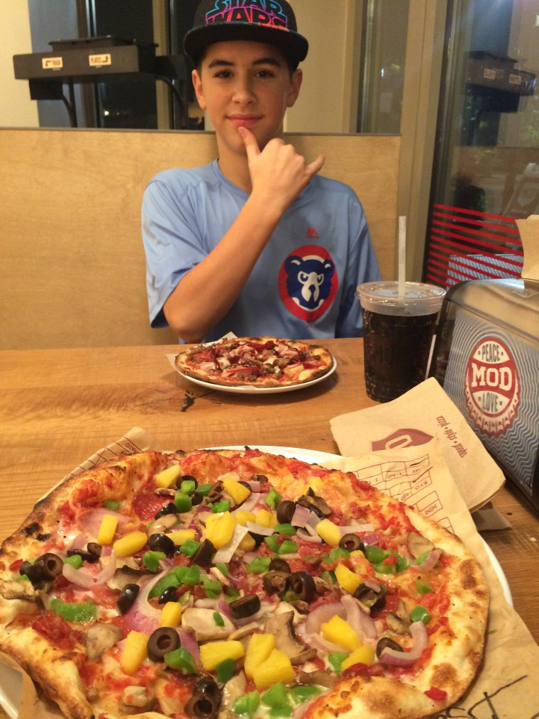 Isaac Pedley at MOD pizzeria, suicide prevention