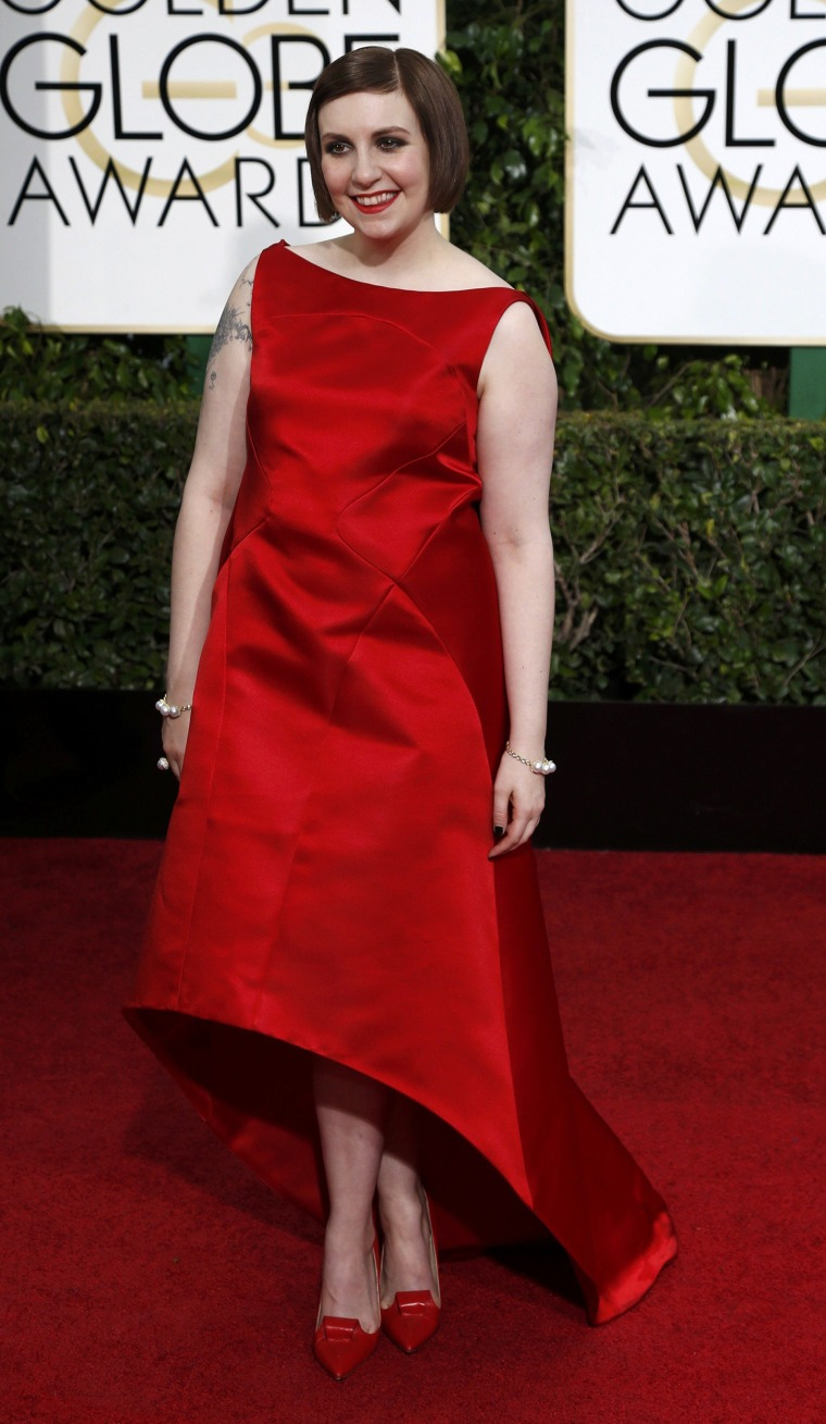 Actress Lena Dunham arrives at the 72nd Golden Globe Awards in Beverly Hills