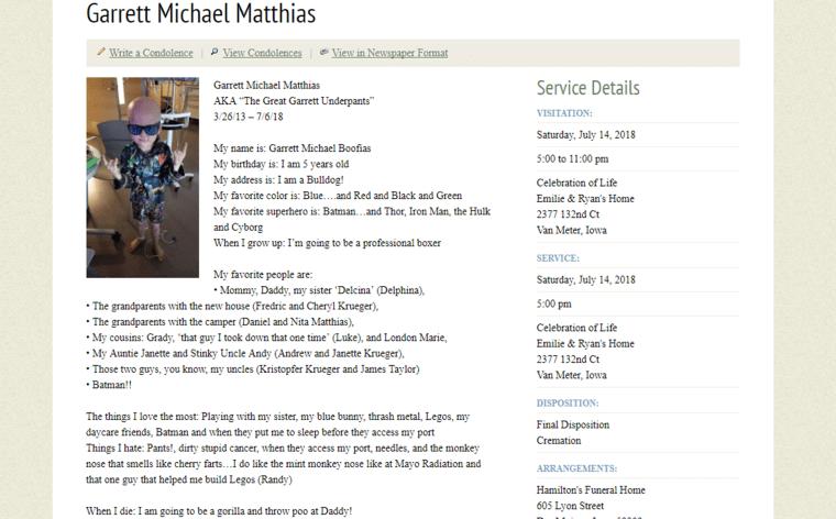 Garrett Matthias obituary