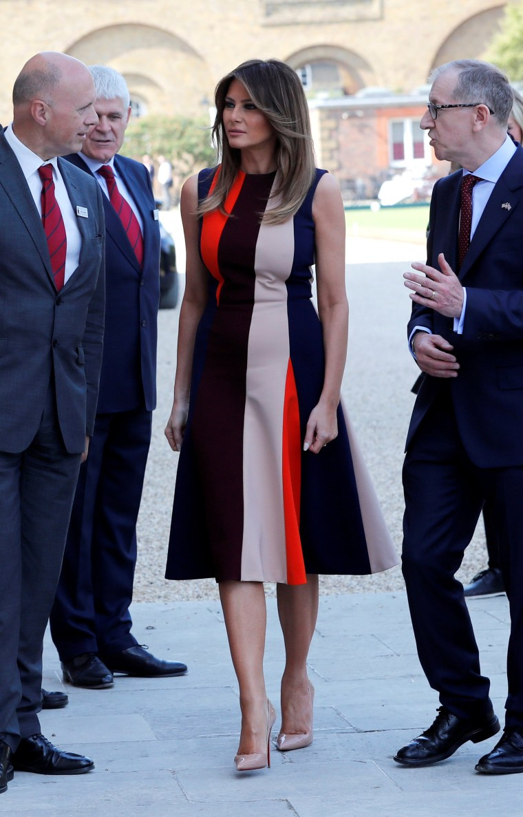 Image: U.S. First Lady Melania Trump and Philip May, the husband of Britain's Prime Minister Theresa May, visit the Royal Hospital Chelsea, where they are met by veterans, in central London