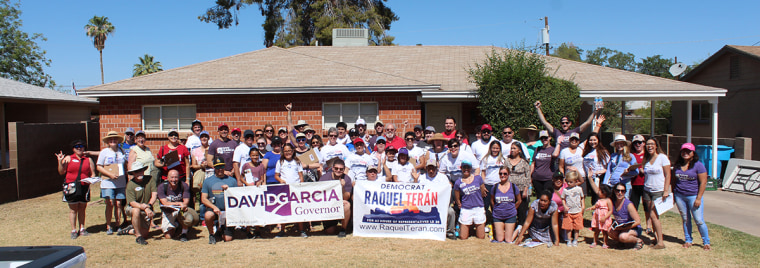 Canvassers in Arizona pose with candidate David Garcia.