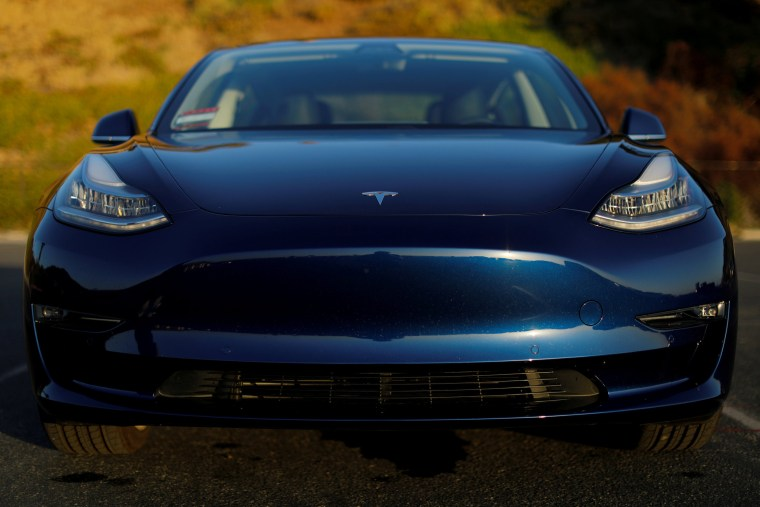 Image: A 2018 Tesla Model 3 electric vehicle