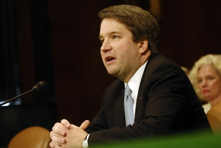 Brett Kavanaugh testifies at a Senate Judiciary Committee in 2006