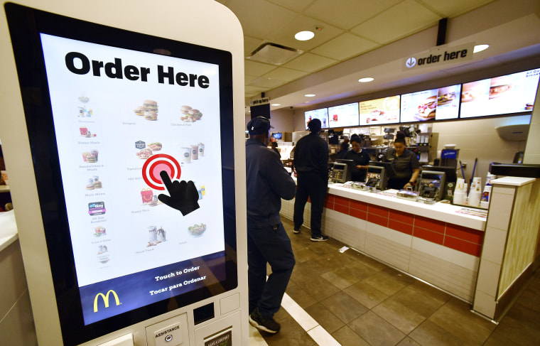 Image: A McDonald's kiosk for digital ordering, on March 6, 2018, in Atlanta.