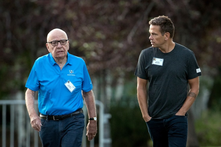 Image: Rupert Murdoch, executive chairman of News Corp and chairman of Fox News, and Lachlan Murdoch, co-chairman of 21st Century Fox