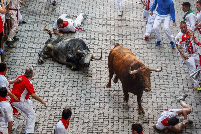 Image: Third bullrun of Sanfermines 2018