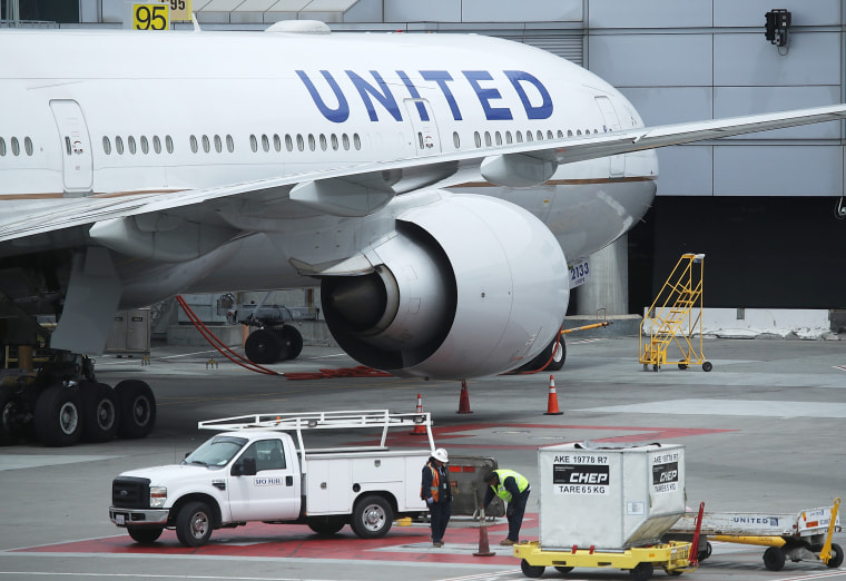 Image: A United Airlines plane sit on the tarmac at San Francisco International Airport