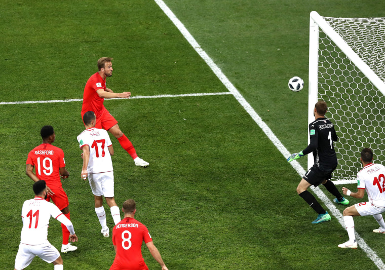 Image: Harry Kane of England scores his team's second goal during the 2018 FIFA World Cup Russia group G match