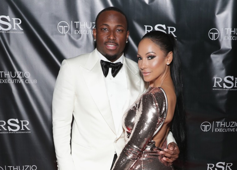 Image: NFL player LeSean McCoy and designer Delicia Cordon