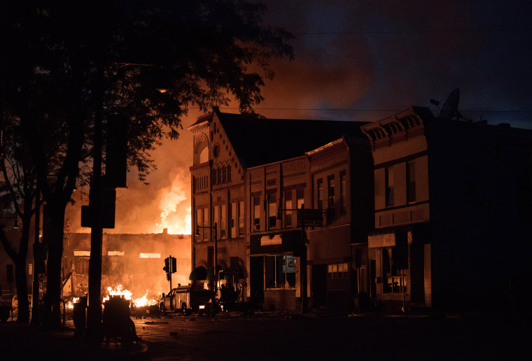 Flames consume a building in Sun Prairie, Wisconsin