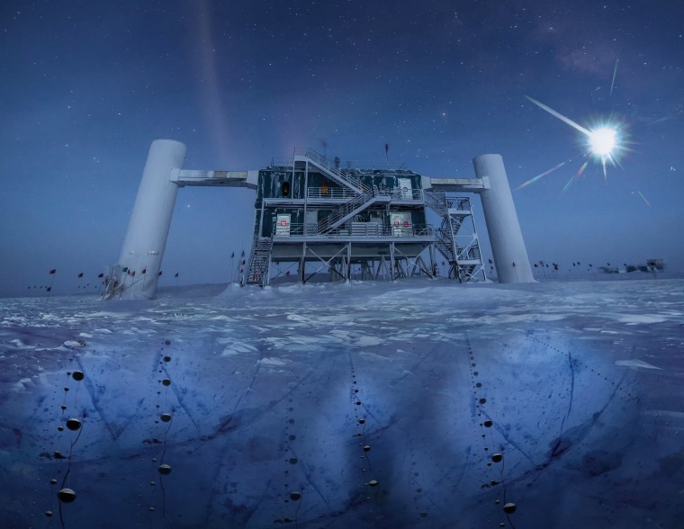 Image: An illustration of the IceCube lab at the South Pole