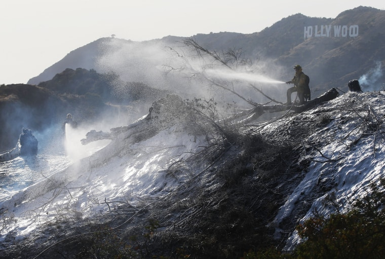 Image: Firefighters battle a blaze on the hillsides of Griffith Park near the Hollywood Hills in Los Angeles