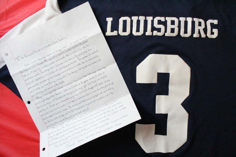 Image: Before his deportation, Lizandro chose to don the number three jersey for the Louisburg College Hurricanes
