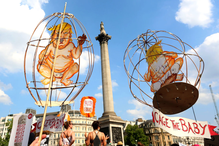 Image: Trump babies in cages are held up in Trafalgar Square