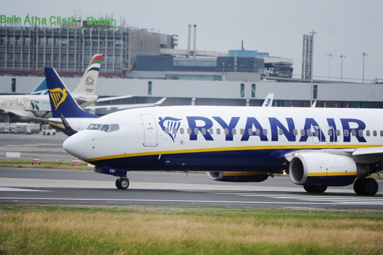 Image: A Ryanair aircraft at Dublin airport in Ireland
