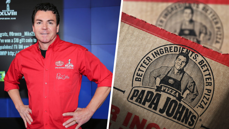 John H. Schnatter, Founder, Chairman & CEO of Papa John's International, Inc. rings the NASDAQ Opening Bell at NASDAQ MarketSite on January 31, 2014 in New York City. A Papa John's pizza box.
