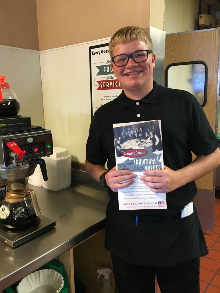 17-year-old Cohen Naulty working at Country Cookin' in Lynchburg, VA