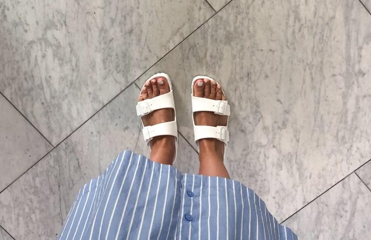 white birkenstocks, summer shoes