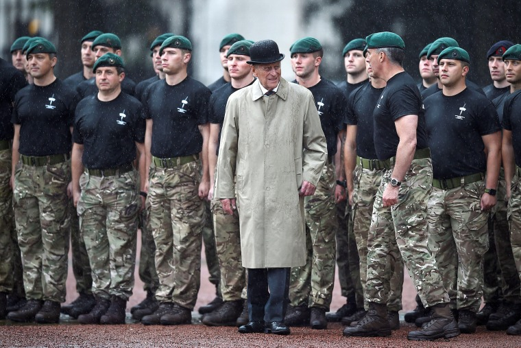 Image: Britain's Prince Philip, Duke of Edinburgh, in his role as Captain General, Royal Marines, attends a parade to mark the finale of the 1664 Global Challenge at Buckingham Palace on August 2, 2017.