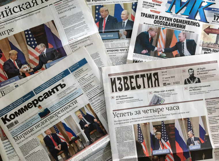 Image: The front pages of Russia's main newspapers