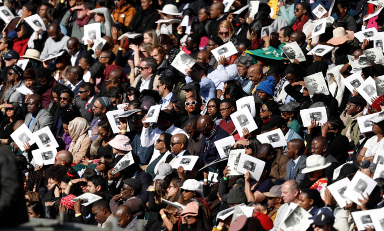 Image: People attend the Nelson Mandela annual lecture in Johannesburg