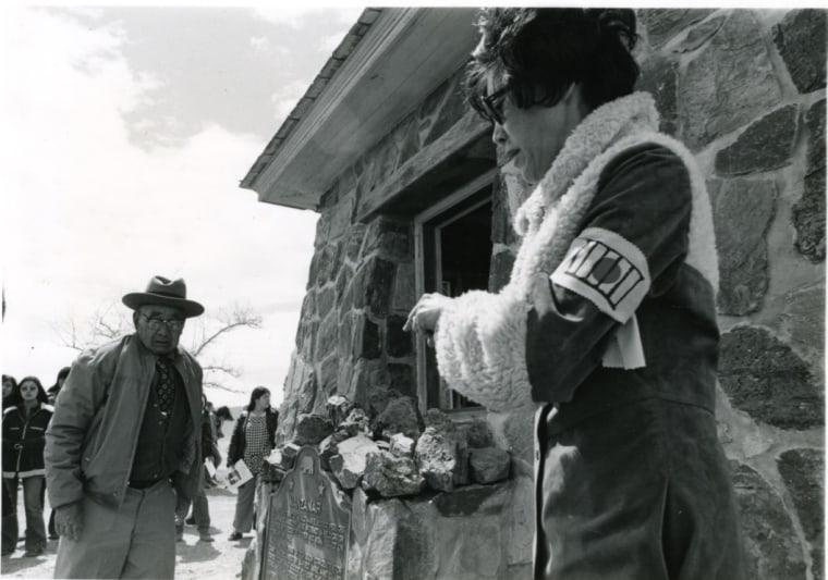 Image: Sue Embrey, right, at the dedication of a plaque at Manzanar.
