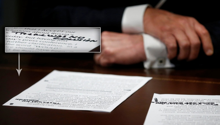 Image: U.S. President Trump's prepared remarks show handwritten notes as he speaks about meeting with Russian President Putin at the White House in Washington