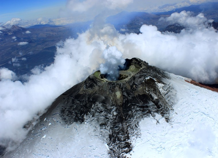 Image: A view of the top of Cotopaxi's long, cylindrical crater