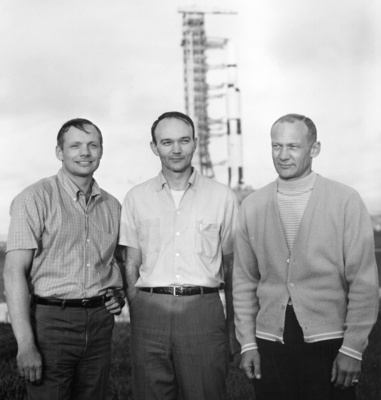 Image: Handout photo of Armstrong, Collins and Aldrin at Kennedy Space Center