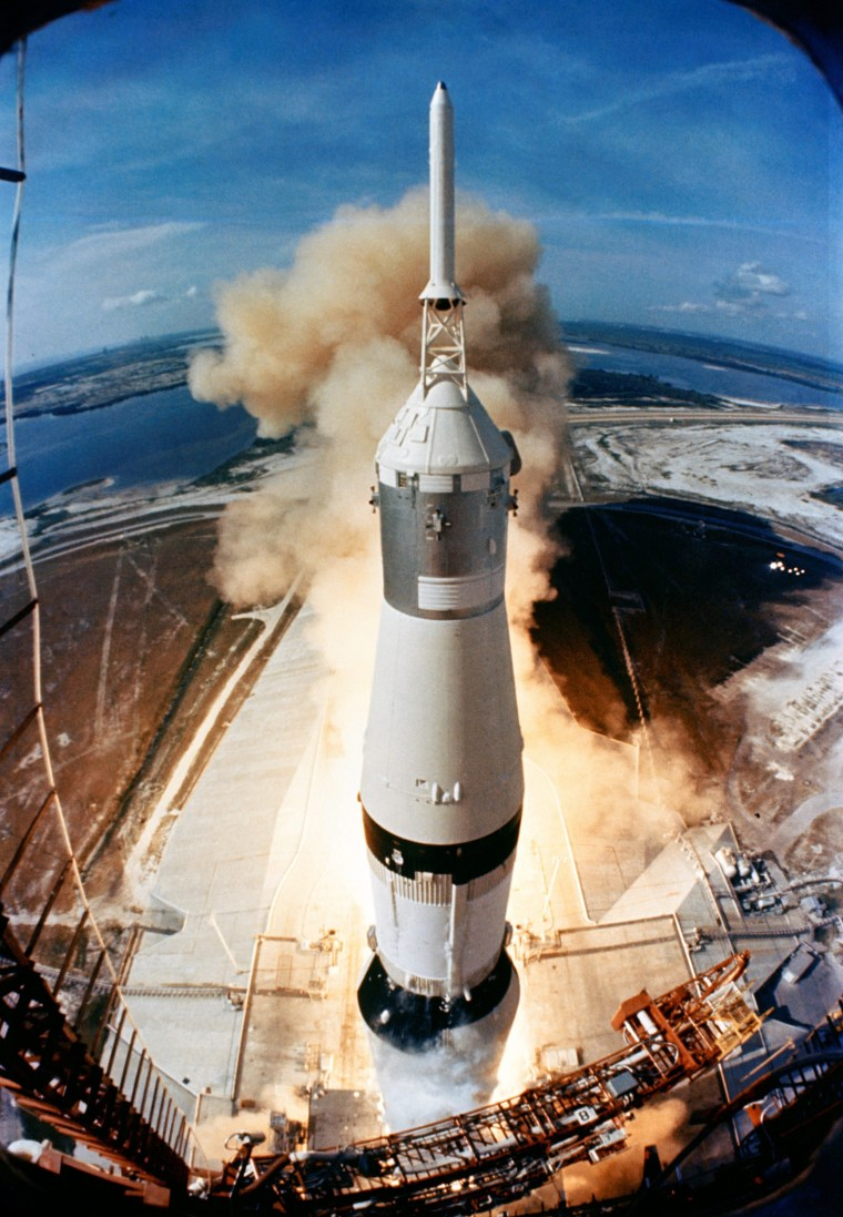 Image: Saturn V rocket launches on the Apollo 11 mission