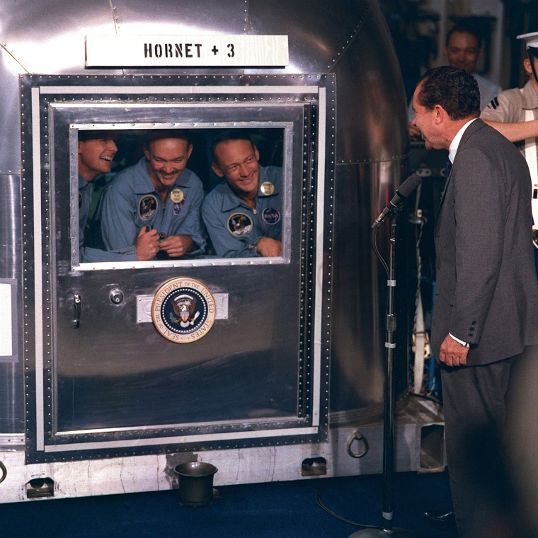 Image: Image: United States President Richard M. Nixon was in the central Pacific recovery area to welcome the Apollo 11 astronauts aboard the USS Hornet, prime recovery ship for the historic Apollo 11 lunar landing mission