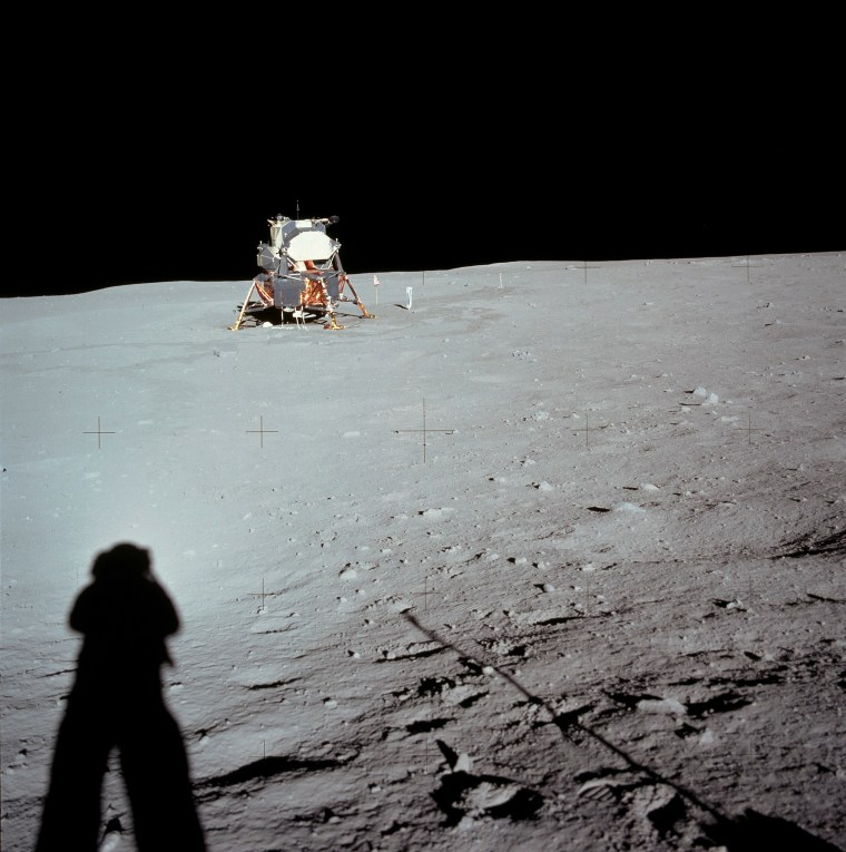 "Spaceflight United States of America, Moon landing of Apollo 11 in 1969: Astronaut Neil ARMSTRONG takes a photograph of landing site and lunar module ""Eagle"" - July 20, 1969"