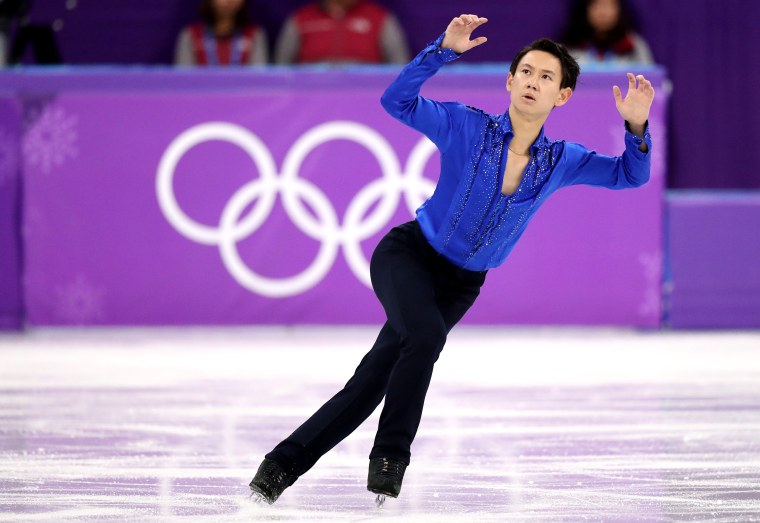 Image:Denis Ten of Kazakhstan performs in the men's single skating short program