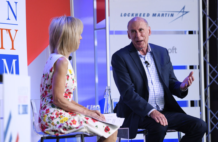 Image: Dan Coats speaks with Andrea Mitchell during the Aspen Security Forum