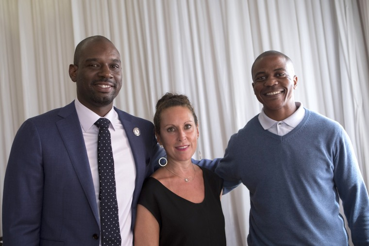 Professor Baz Dreisenger with her first graduate Devon Simmons of the Prison to Pipeline Program in America (to her left), and a South African recent graduate and ex-offender Morgan (to her left) during the launch of the first P2P program in South Africa,