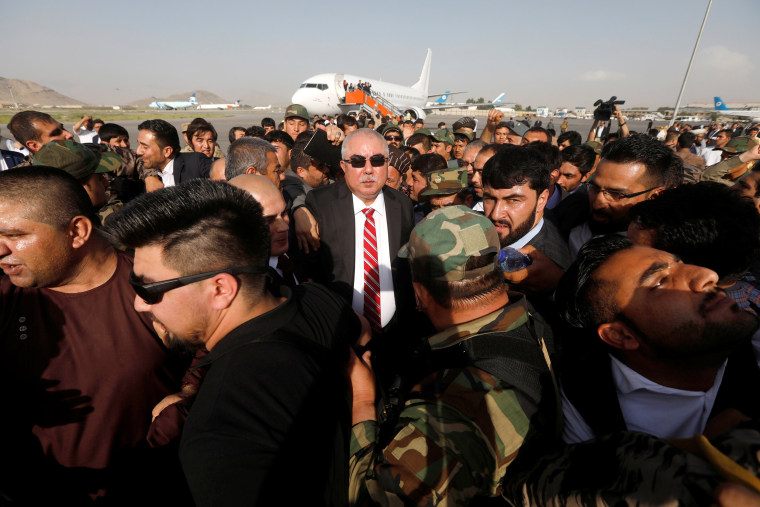 Image: Afghan Vice President Abdul Rashid Dostum arrives at the Hamid Karzai International Airport in Kabul
