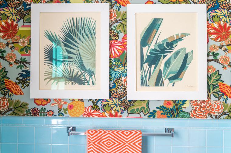 Blue tile wallpaper bathroom