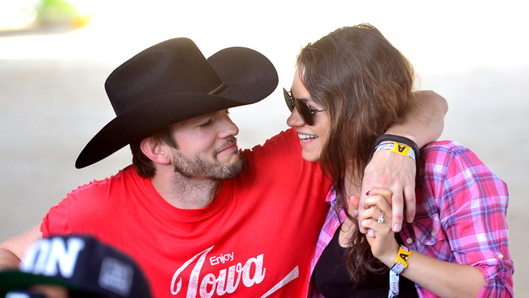 Ashton Kutcher and Mila Kunis at 2014 Stagecoach California's Country Music Festival