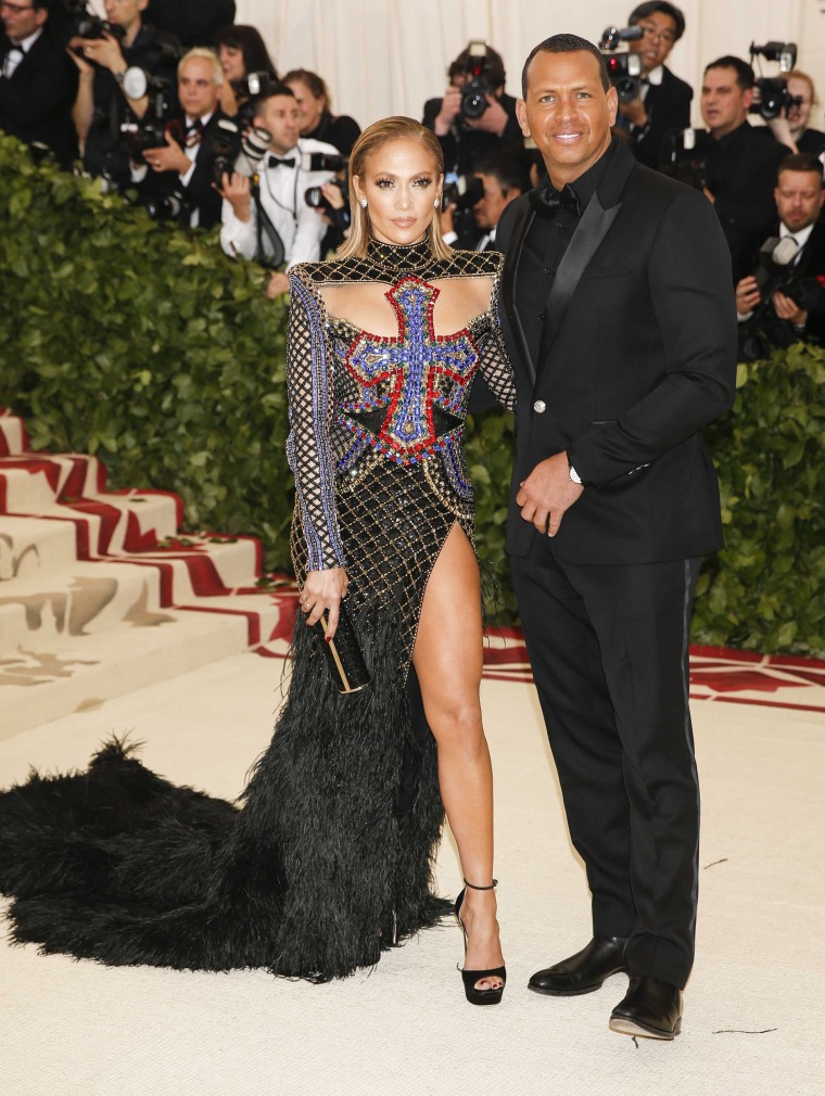 Singer Jennifer Lopez and Alex Rodriguez arrive at the Metropolitan Museum of Art Costume Institute Gala (Met Gala) in New York on May 7, 2018.