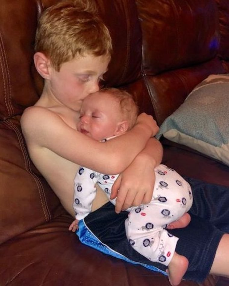 Mikey is an amazing big brother to baby Jake.