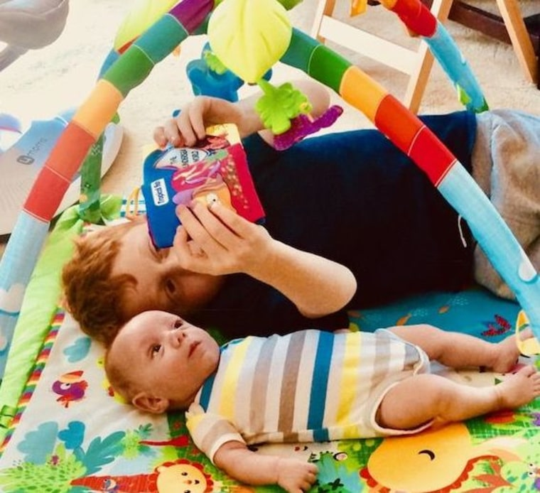 Mikey loves to sing and read books to his baby brother.