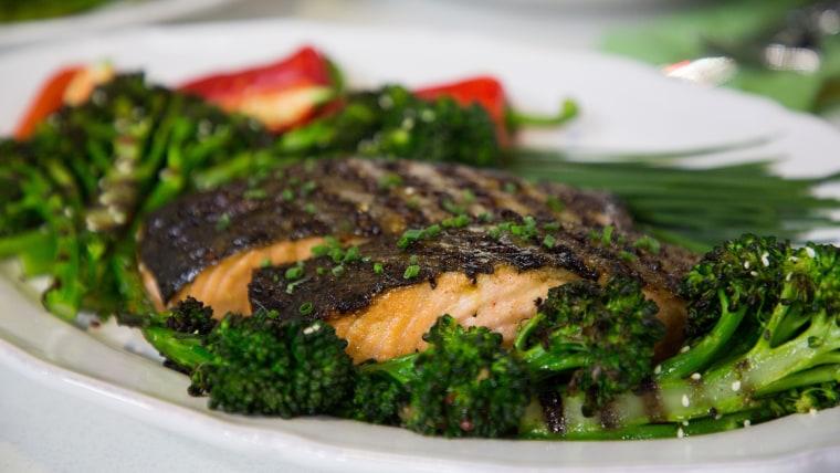 Judy Joo's Grilled Miso Glazed Salmon with Broccolini Salad