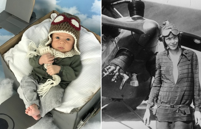 Baby Liberty as Ameila Earhart, the first female aviator to fly alone across the Atlantic Ocean.