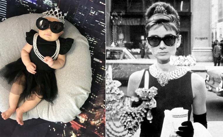 Baby Liberty as British model, actress and humanitarian Audrey Hepburn.