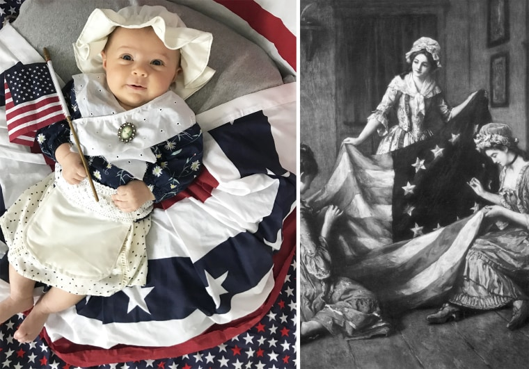 Baby Liberty as Betsy Ross, the woman widely credited with making the first American flag.