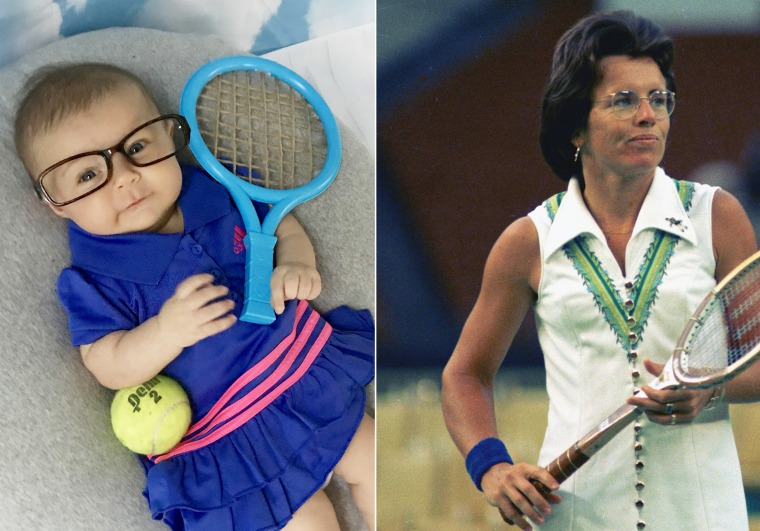 Baby Liberty dressed up as Billie Jean King, a former American professional tennis player.