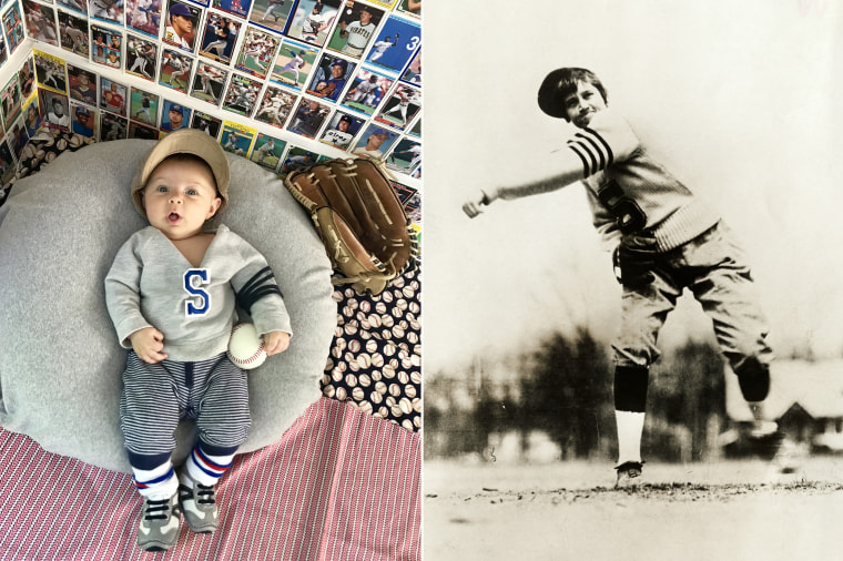 Baby Liberty dressed as one of the first female baseball pitchers in American history, Jackie Mitchell.
