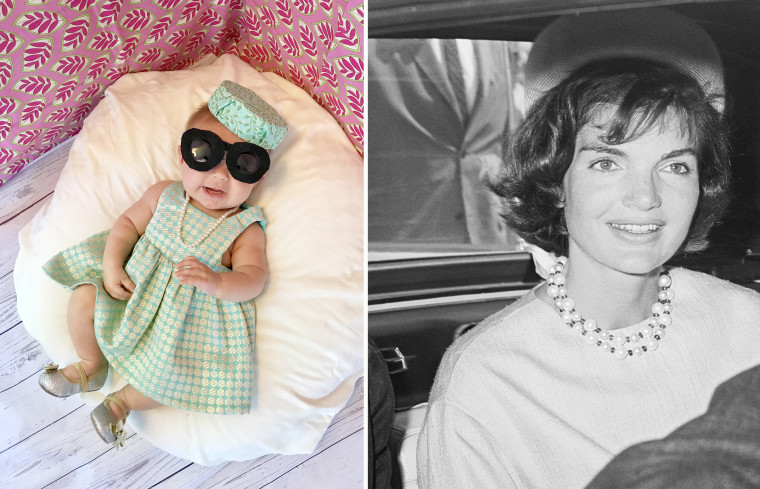 Baby Liberty dressed up as Jacqueline Kennedy Onassis, style icon and wife of John F. Kennedy.