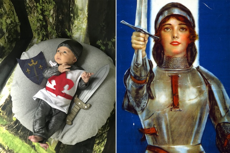 Baby Liberty as French martyr and saint Joan of Arc.
